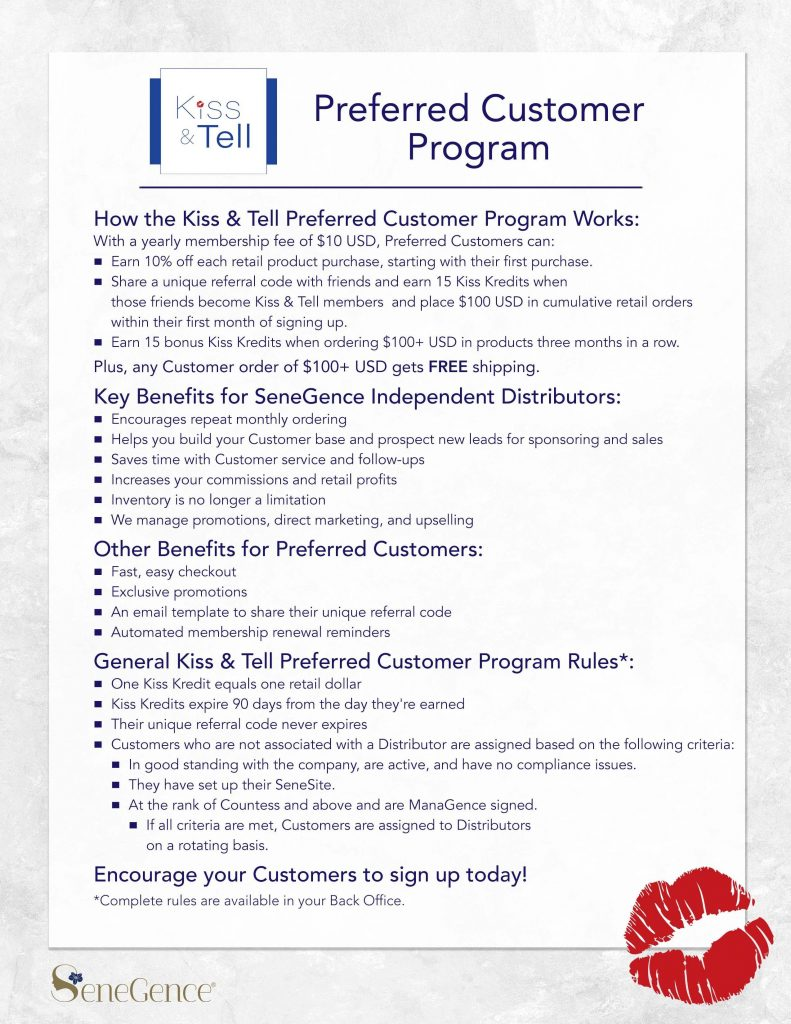 SeneGence Kiss and Tell Preferred Customer Program